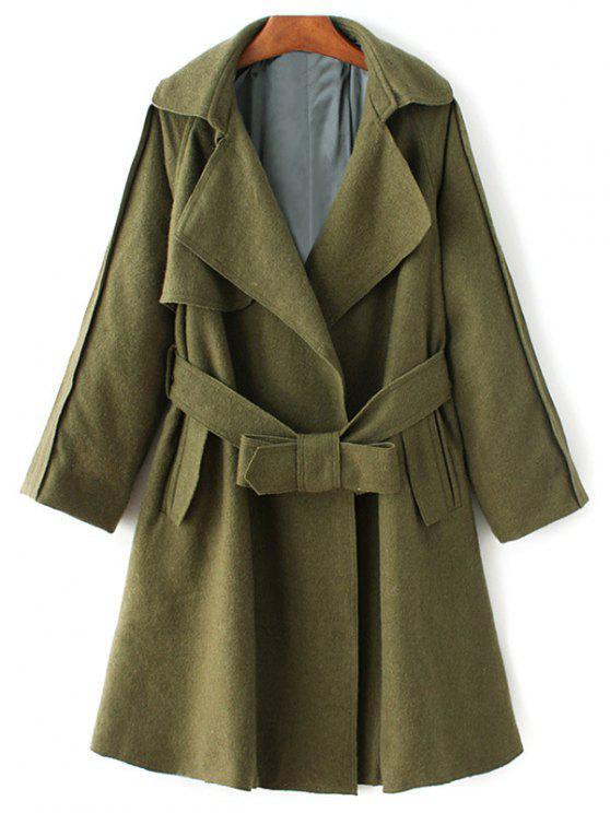 hot Wool Blend Lapel Collar Wrap Coat - GREEN L