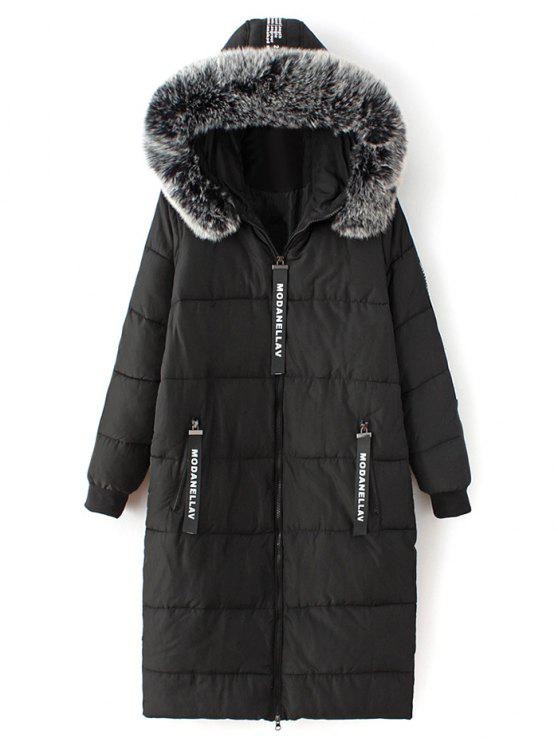 chic Hooded Number Patch Quilted Coat - BLACK L