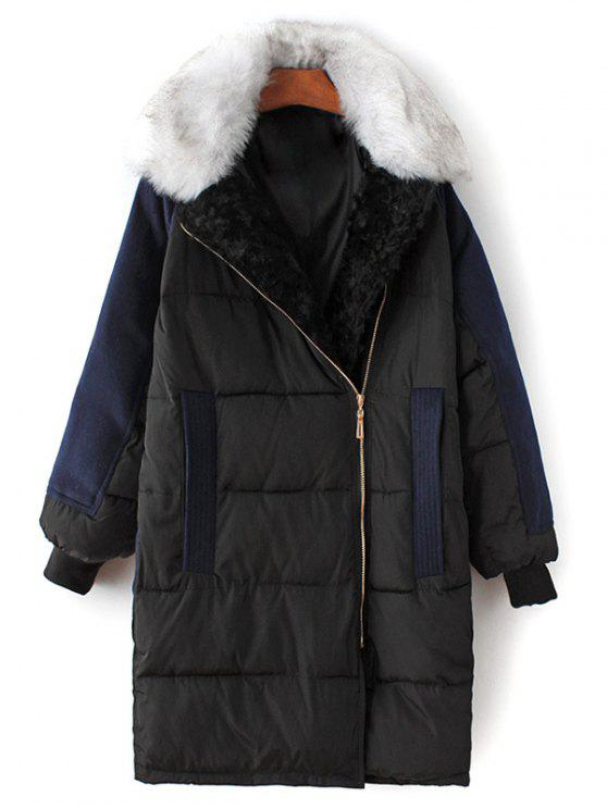 affordable Wool Panel Fur Collar Quilted Coat - BLACK M
