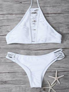 Traje De Bikini Trasparente De Cordones Con Cuello Alto - Blanco Xl