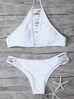 Sheer Stripe High Neck Bikini Set - White S