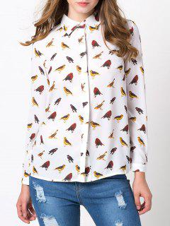 Bird Print Chiffon Animal Print Shirt - White Xs