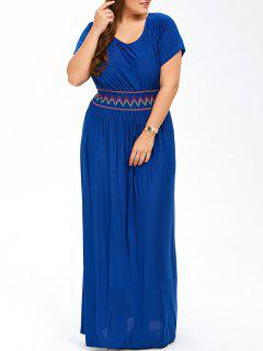 Plus Size Maxi Prom Dress With Short Sleeves - Blue 3xl