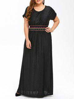 Plus Size Maxi Prom Dress With Short Sleeves - Black Xl