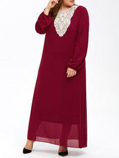 Plus Size Muslim Lace Insert Maxi Long Sleeve Dress - Wine Red 2xl