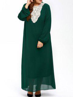 Plus Size Muslim Lace Insert Maxi Long Sleeve Dress - Blackish Green Xl