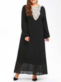 Plus Size Muslim Lace Insert Maxi Long Sleeve Dress - Black 6xl