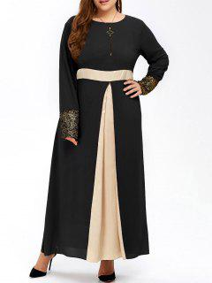 Plus Size Long Muslim Color Block Chiffon Maxi Dress - Black 2xl