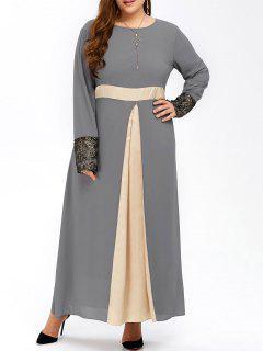 Übergröße Langes Muslim Maxi Kleid Aus Chiffon Mit Farbblock - Grau 5xl