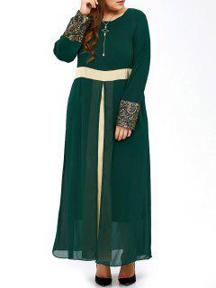 Plus Size Long Muslim Color Block Chiffon Maxi Dress - Blackish Green 3xl