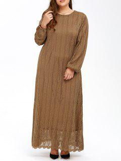 Muslim Lace Plus Size Maxi Long Sleeve Dress - Khaki 6xl