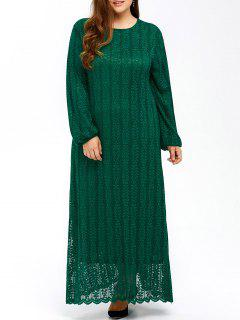 Muslim Lace Plus Size Maxi Long Sleeve Dress - Green 4xl