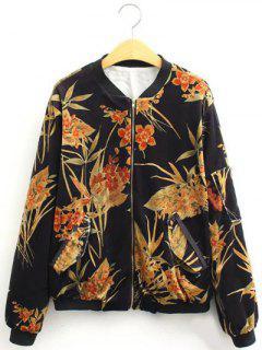 Vintage Slim Floral Print Bomber Jacket - Black S