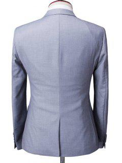 One-Button Solid Color Lapel Long Sleeve Three-Piece Suit ( Blazer + Waistcoat + Pants ) For Men - Light Gray M