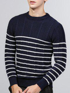 Striped Twist Knit Crew Neck Sweater - Deep Blue M