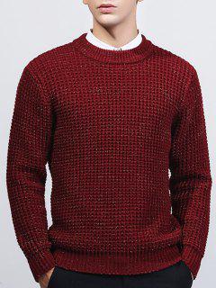 Crew Neck Texture Lurex Sweater - Burgundy M