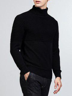 Turtleneck Ribbed Pullover Sweater - Black M