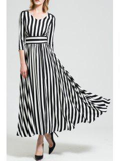 Maxi A Line Striped Dress With Sleeves - White And Black Xl