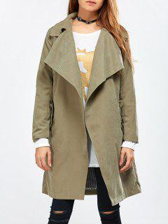 Drape Front Wrap Trench Coat - Army Green 3xl