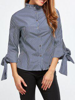 Back Buttons Striped Blouse - Blue And White S