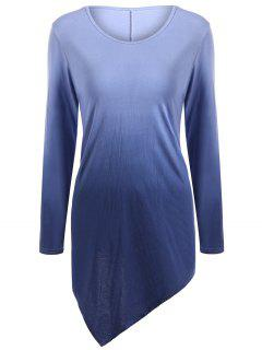 Ombre V Neck Asymmetrical Tee - Purplish Blue 2xl