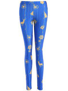 Skinny Christmas Reindeer Leggings - Blue M