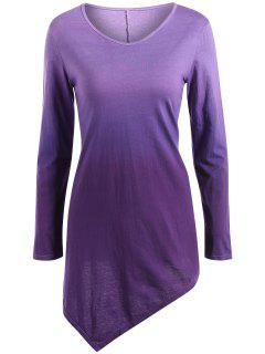Ombre V Neck Asymmetrical Tee - Purple M