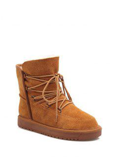 Suede Tie Up Tie Up Snow Boots - Light Brown 38