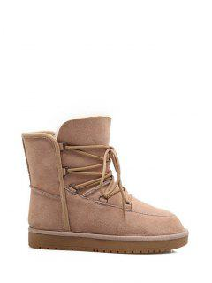 Suede Tie Up Tie Up Snow Boots - Apricot 38