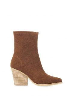 Chunky Heel Pointed Toe Zip Short Boots - Brown 39