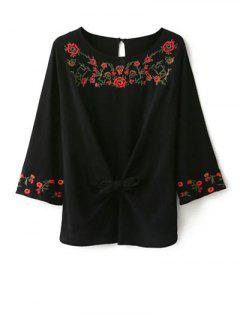 Embroidered Front Knot Blouse - Black S