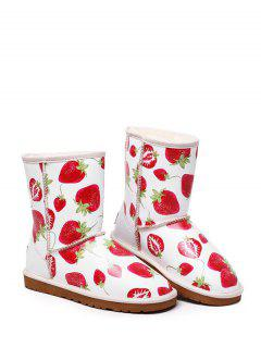 Strawberry Printed Colour Spliced Stitching Snow Boots - White 38