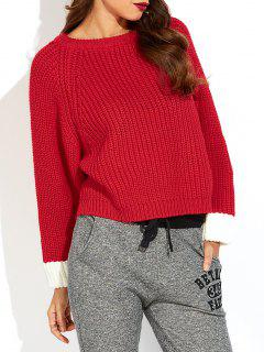 Color Block Batwing Sleeve Ribbed Sweater - Red