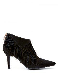 Fringe Stiletto Heel Pointed Toe Boots - Black 38