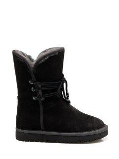 Fold Down Fuzzy Snow Boots - Black 38