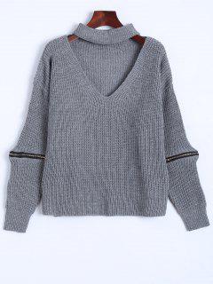 De Gran Tamaño Cuello En V Suéter Gargantilla - Gris