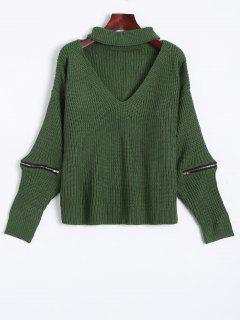 Ribbed Zipper Choker Swater - Green
