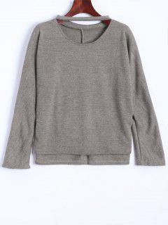 Soft Cut Out Choker Sweater - Gray