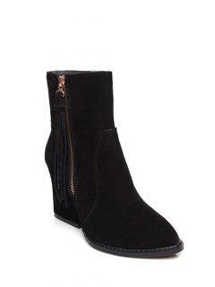 Chunky Heel Tassel Short Boots - Black 38