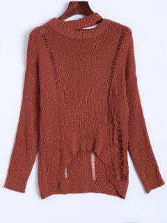 Oversized Distressed Sweater - Jacinth