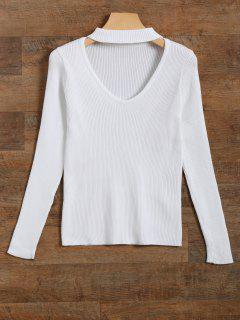 Ribbed Cut Out Choker Jumper - White S