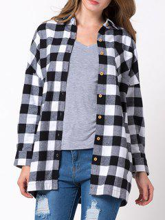 Long Checked Shirt - White And Black Xs