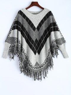 Plaid Batwing Sleeve Sweater