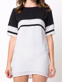 Color Block Casual Dress - White M