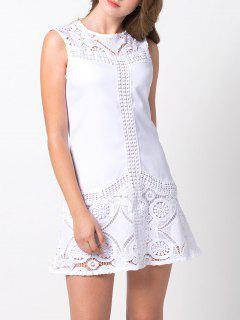 Lace Insert Cut Out A-Line Dress - White Xs