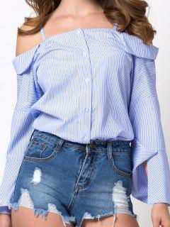 Flare Sleeve Cold Shoulder Blouse - Blue And White Xl
