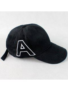 Warm Letter A Embroidery Plush Baseball Hat - Black
