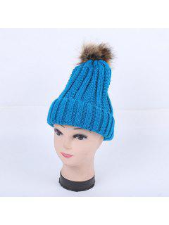 Winter Stripy Flanging Pom Hat - Lake Blue