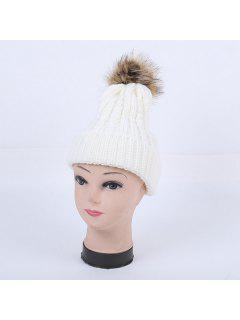 Gorra Casual Punto Cable Pom - Blanco