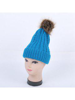 Winter Cable Knit Pom Hat - Lake Blue